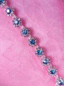 "N27 Floral Crystal Turquoise Rhinestone Petite Flower Trim .25"""