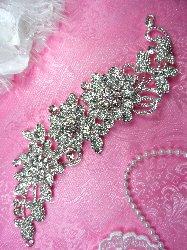 """N3 Floral Vine Crystal Clear Glass Rhinestone Flower Embellishment Metal Back Shoulder Strap With Hooks 10.5"""""""