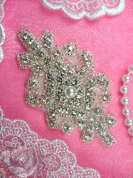 N35 Clear Crystal Glass Rhinestone Silver Beaded Pearl Applique 3.75""