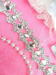 N41 Diamond Silver Crystal Clear Glass Rhinestone Trim 1""