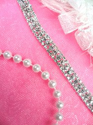N42 Thin Silver Crystal Clear Glass Rhinestone Trim .25""