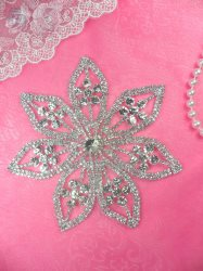 N43 Designer Silver Crystal Glass Rhinestone Flower Applique Embellishment 5""