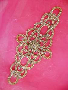 N44 Crystal Rhinestone Applique Gold Embellishment  8""