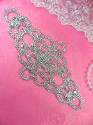 """N44 Crystal Rhinestone Applique Silver Embellishment  8"""""""