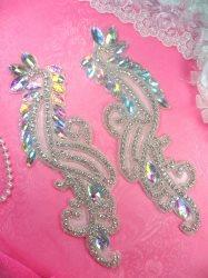 "N46 Aurora Borealis Rhinestone Appliques Mirror Pair Crystal Glass Silver Beaded 9.5"""