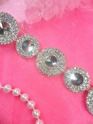N48 Circle Crystal Clear Rhinestone Metal Back Embellishing Trim 1""