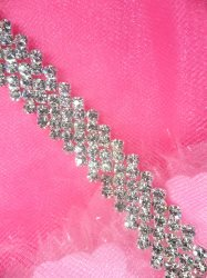 N49 Silver Crystal Clear Rhinestone Metal Backing Trim .5""