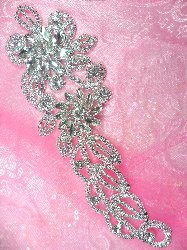 "N5 Bridal Flower Crystal Rhinestone Sash Applique Metal Back Floral Embellishment 9"""