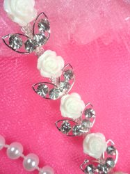 N50 White Rose Silver Crystal Clear Rhinestone Metal Backing Embellishing Trim .75""