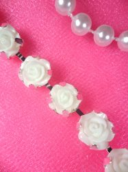 N51 White Rose Metal Backing Embellishing Trim 3/8""