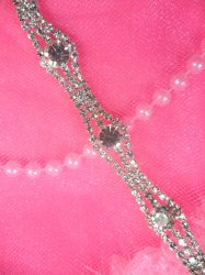 N53 Silver Crystal Clear Rhinestone Metal Backing Trim .5""