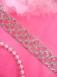 N54 Silver Crystal Clear Rhinestone Metal Backing Trim .75""