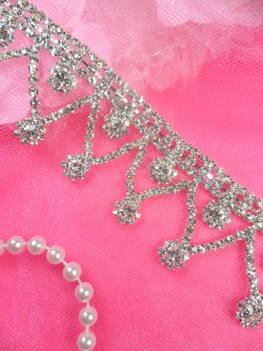 N55 Silver Crystal Clear Rhinestone Headpiece Bridal Dangle Metal Backing Embellishing Trim 1.5""