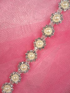 N57 Crystal Clear Rhinestone Pearl Metal Backing Flexible Trim 3/8""