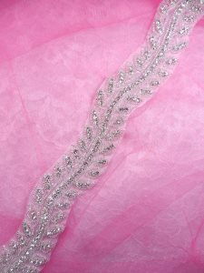 N61 Bridal Sash Trim Rhinestone Crystal Clear Silver Beaded