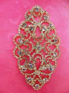 N70 Bridal Crystal Rhinestone Sash Applique Gold Metal Back Embellishment 3.75""
