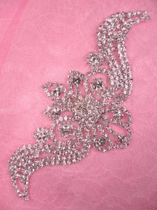 N71 Bridal Crystal Rhinestone Sash Applique Metal Back Embellishment 5.5""