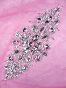 N72 Bridal Crystal Rhinestone Sash Applique Metal Back Embellishment 8.5""