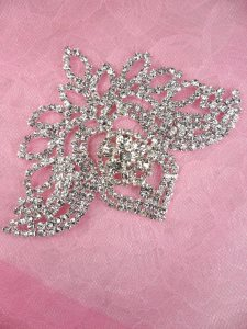 N73 Bridal Crystal Rhinestone Applique Metal Back Embellishment 4""