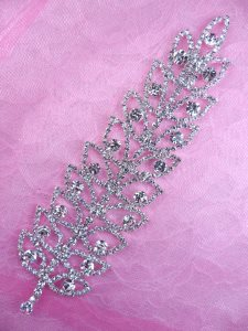N74 Bridal Crystal Rhinestone Leaf Sash Applique Metal Back Embellishment 8""