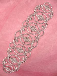 N76 Bridal Crystal Rhinestone Sash Applique Metal Back Embellishment 7.75""