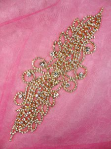 N77 Gold Metal Backing Crystal Clear Rhinestone Embellishment 8.5""