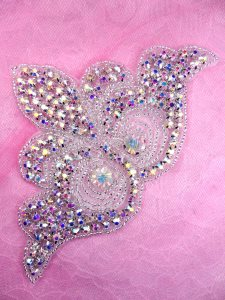 "N80 Bridal Crystal AB Aurora Borealis Rhinestone Sash Applique Metal Back Embellishment 8"""