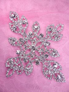 N83 Crystal Rhinestone Bridal Applique Metal Back Embellishment 4.75""