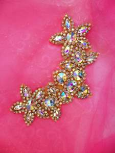 N88 Gold Yoke Collar Aurora Borealis Rhinestone Applique 6.75""