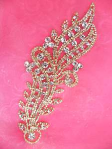 N89 Bridal Crystal Rhinestone Sash Applique Gold Metal Back Embellishment 7.5""