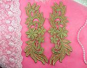"Venise Lace Appliques Mirror Pair Gold Metallic Flower 9"" (N94X-gl)"