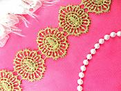 """Circle Trim Embroidered Victorian Venice Lace Gold Metallic 1.75"""" (N95-gl)"""