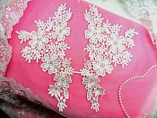 "Venise Lace Appliques Large Mirror Pair White Flowers 12"" (N98X-wh)"