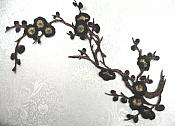 "Oriental Applique Black and Brown Tree Embroidered Floral Iron On 15"" (GB342-bkbr)"
