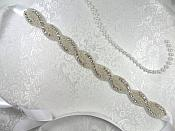 "Bridal Sash Silver Beaded Crystal Clear Glass Rhinestone White Ribbon 11"" (GB353-slcr)"