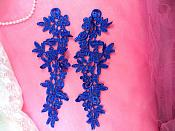 "Floral Venise Lace Mirror Pair Appliques Royal Blue 9.5"" (GB360X-bl)"