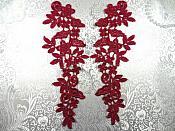 """Floral Venise Lace Mirror Pair Appliques Burgundy 9.5"""" (GB360X-bur)"""