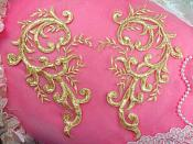 "Embroidered Appliques Light Pale Gold Metallic Mirror Pair Designer Scroll Motifs  10"" (GB392X-pgl)"
