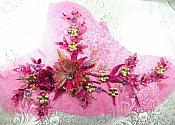 "Embroidered 3D Applique Rhinestone Center Fuchsia Floral Sequin Patch 14"" (DH70-fs)"