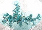 "Embroidered 3D Applique Rhinestone Center Teal Floral Sequin Patch 13.75"" (GB410-tl)"