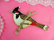 "Embroidered Bird Applique Red Small Perching Iron On 3.5"" (GB445)"