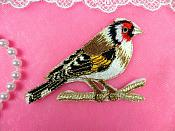 "Embroidered Bird Applique Red Small Perching Iron On 3.5"" (GB446)"