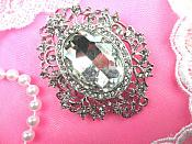 """Rhinestone Brooch Silver Crystal Glass Pin 2.5"""" (GB450-slcr)"""