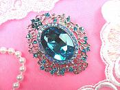 "Rhinestone Brooch Silver Crystal Turquoise Aurora Borealis Accented Glass Pin 2.5"" (GB450-trabsl)"