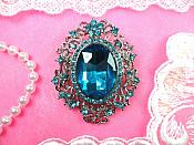 "Rhinestone Brooch Silver Crystal Turquoise Glass Pin 2.5"" (GB450-trsl)"