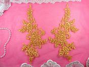 """Mirror Pair Appliques Butterscotch Gold Floral Venise Lace  9.5"""" (GB455X-bsgl)"""