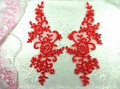 "Mirror Pair Appliques Red Floral Venise Lace  9.5"" (GB455X-rd)"