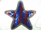 "Star Applique Patriotic Sequin Mesh Backing 9"" (GB462)"