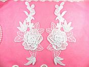 "Embroidered Appliques White Mirror Pair Floral 3D Flowers 9"" (GB464X-wh)"