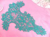 "Bodice Applique Teal Yoke Embroidered Flower Collar Motif 11"" (GB465-tl)"